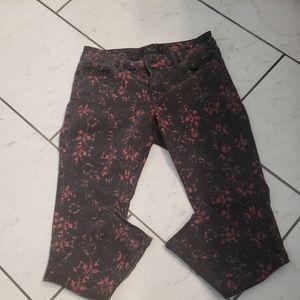 Lucky brand lolita capri black splatter paint jean